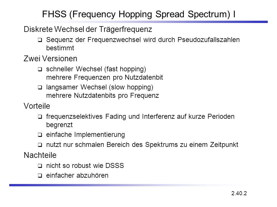 2.40.2 FHSS (Frequency Hopping Spread Spectrum) I Diskrete Wechsel der Trägerfrequenz Sequenz der Frequenzwechsel wird durch Pseudozufallszahlen besti