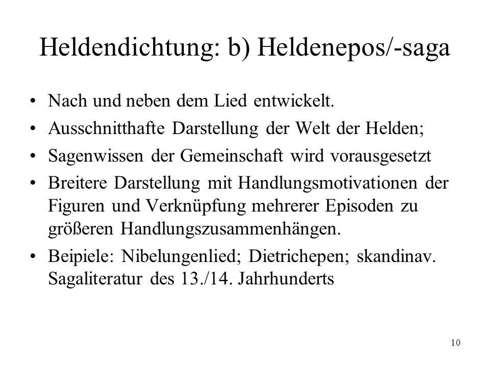 10 Heldendichtung: b) Heldenepos/-saga Nach und neben dem Lied entwickelt. Ausschnitthafte Darstellung der Welt der Helden; Sagenwissen der Gemeinscha