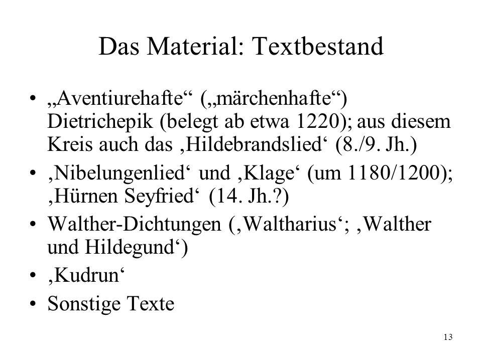 13 Das Material: Textbestand Aventiurehafte (märchenhafte) Dietrichepik (belegt ab etwa 1220); aus diesem Kreis auch das Hildebrandslied (8./9. Jh.) N