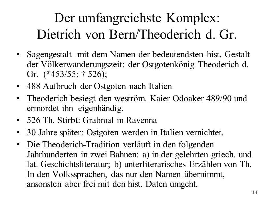14 Der umfangreichste Komplex: Dietrich von Bern/Theoderich d. Gr. Sagengestalt mit dem Namen der bedeutendsten hist. Gestalt der Völkerwanderungszeit