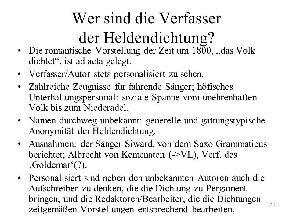 20 Wer sind die Verfasser der Heldendichtung? Die romantische Vorstellung der Zeit um 1800, das Volk dichtet, ist ad acta gelegt. Verfasser/Autor stet