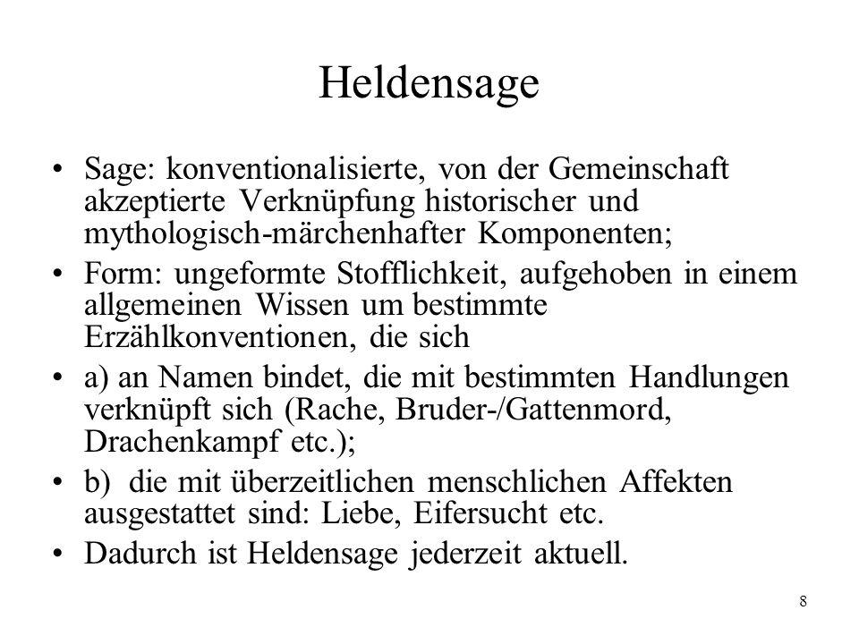 9 Heldendichtung: a) Heldenlied Heldenlied: vom Autor/Sänger/Dichter geformte Sage (Stabreim, Strophe, Reimpaar, Prosa).