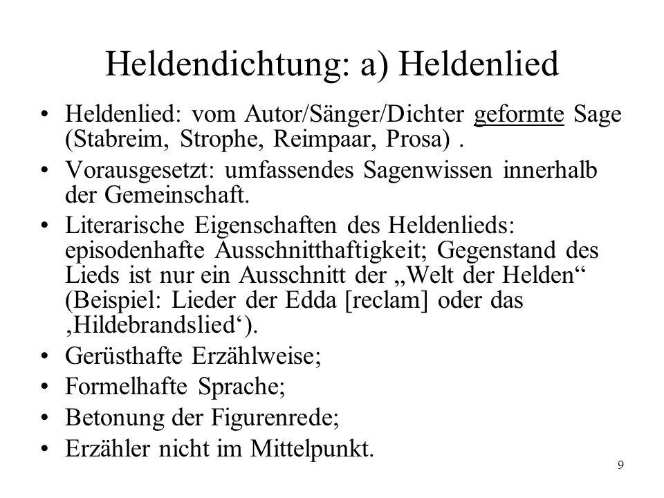9 Heldendichtung: a) Heldenlied Heldenlied: vom Autor/Sänger/Dichter geformte Sage (Stabreim, Strophe, Reimpaar, Prosa). Vorausgesetzt: umfassendes Sa