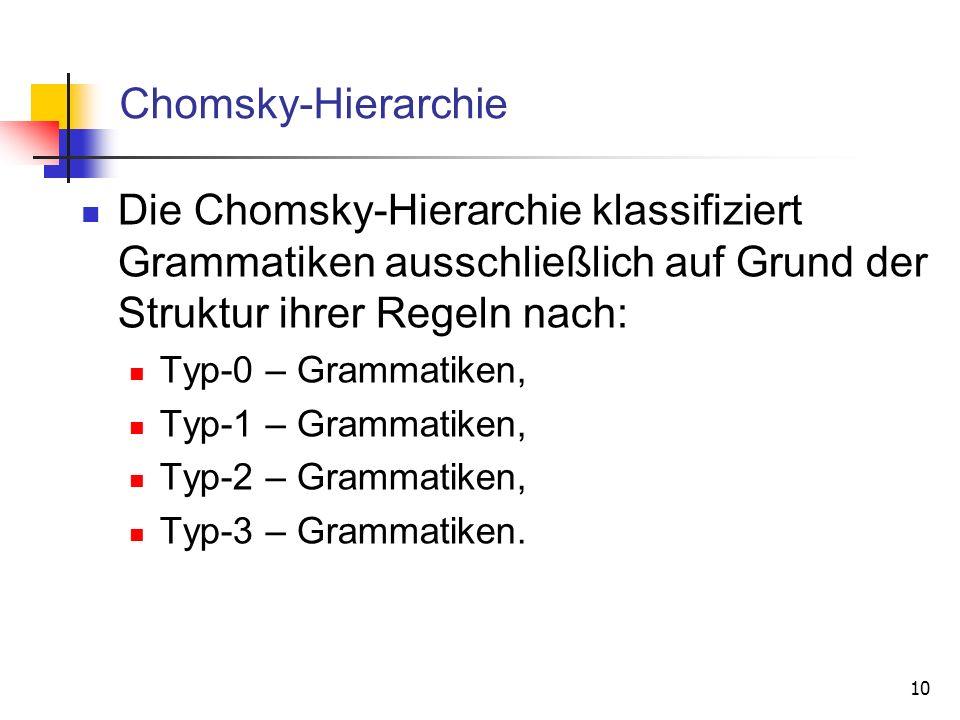 10 Chomsky-Hierarchie Die Chomsky-Hierarchie klassifiziert Grammatiken ausschließlich auf Grund der Struktur ihrer Regeln nach: Typ-0 – Grammatiken, T
