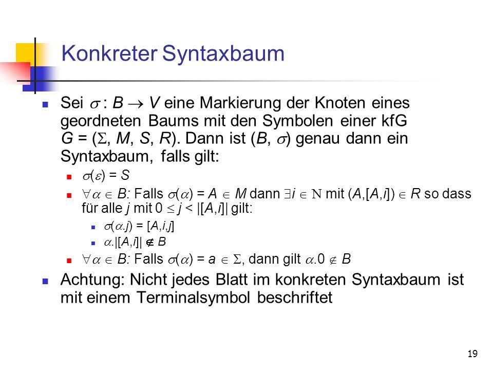 19 Konkreter Syntaxbaum Sei : B V eine Markierung der Knoten eines geordneten Baums mit den Symbolen einer kfG G = (, M, S, R). Dann ist (B, ) genau d