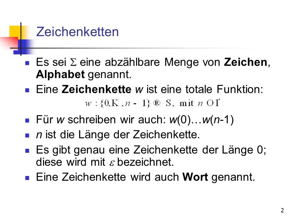 2 Zeichenketten Es sei eine abzählbare Menge von Zeichen, Alphabet genannt. Eine Zeichenkette w ist eine totale Funktion: Für w schreiben wir auch: w(