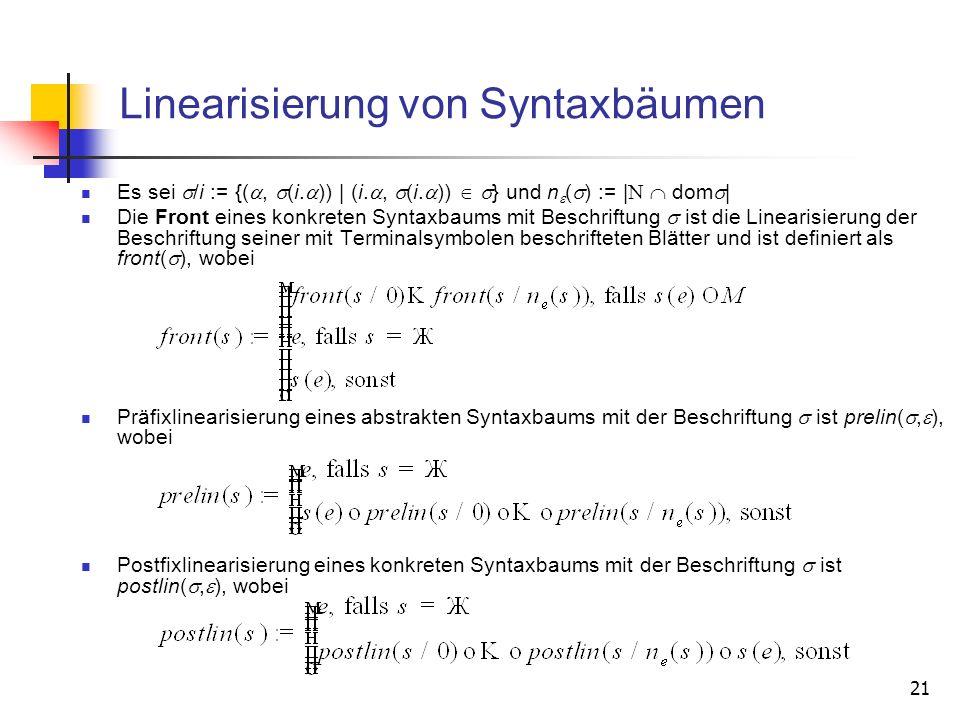 21 Linearisierung von Syntaxbäumen Es sei /i := {(, (i. )) | (i., (i. )) } und n ( ) := | dom | Die Front eines konkreten Syntaxbaums mit Beschriftung