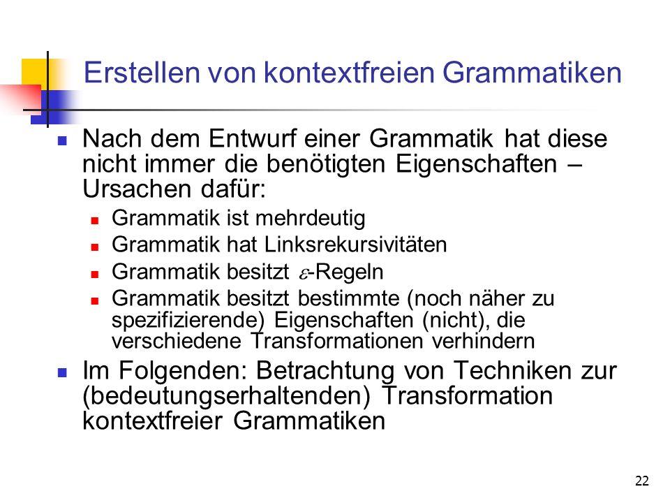 22 Erstellen von kontextfreien Grammatiken Nach dem Entwurf einer Grammatik hat diese nicht immer die benötigten Eigenschaften – Ursachen dafür: Gramm
