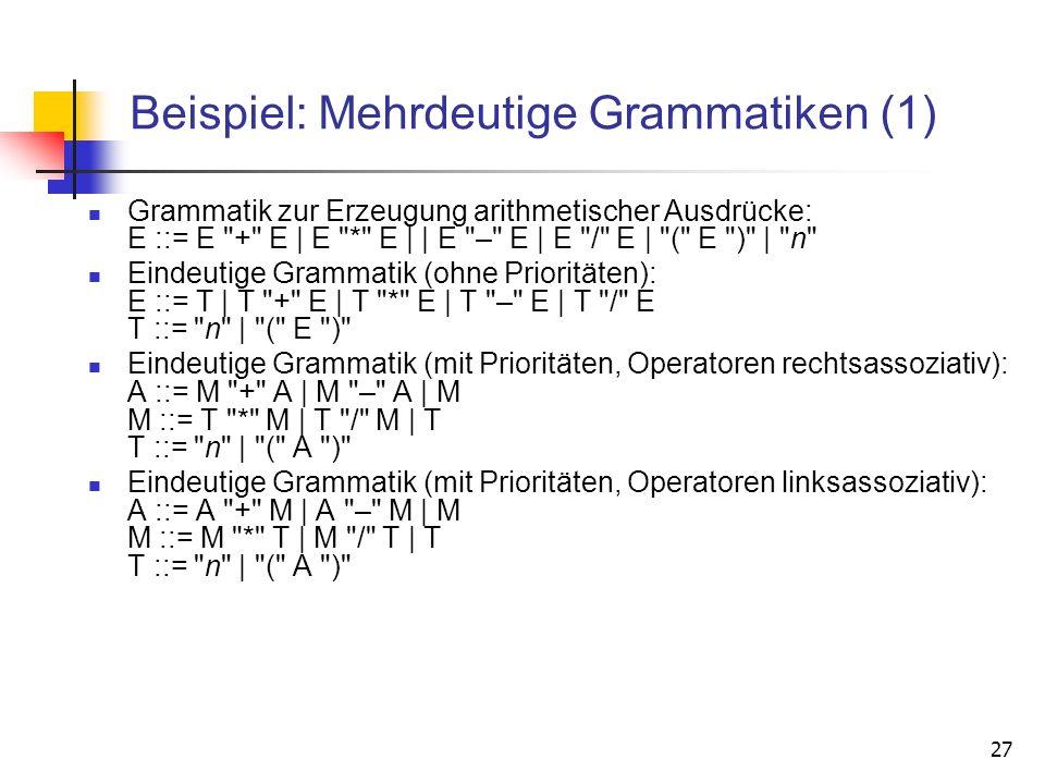 27 Beispiel: Mehrdeutige Grammatiken (1) Grammatik zur Erzeugung arithmetischer Ausdrücke: E ::= E