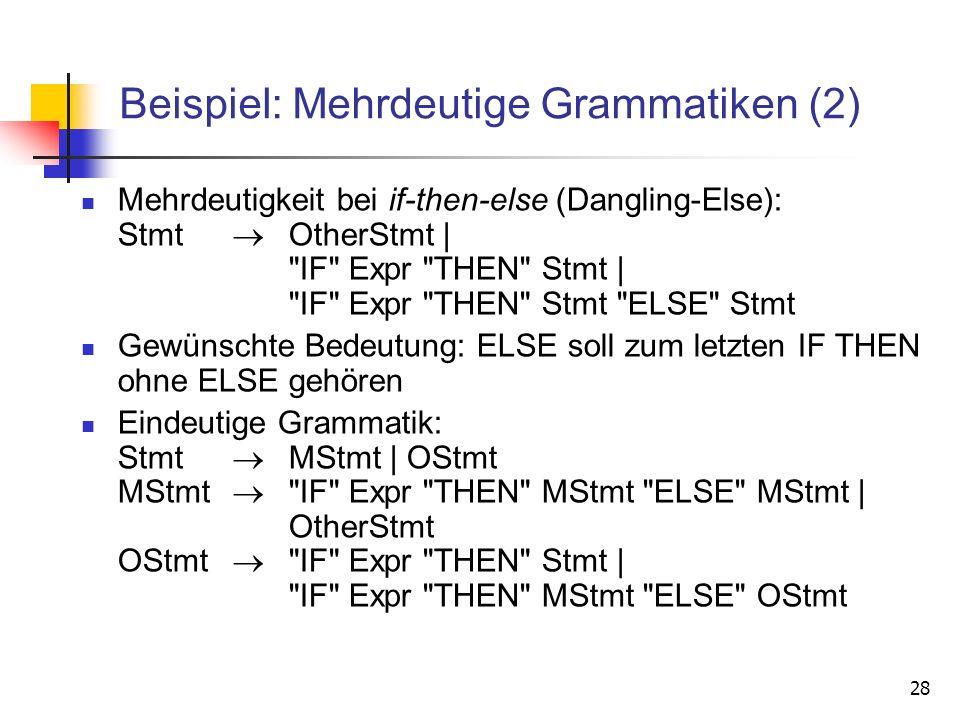 28 Beispiel: Mehrdeutige Grammatiken (2) Mehrdeutigkeit bei if-then-else (Dangling-Else): Stmt OtherStmt |