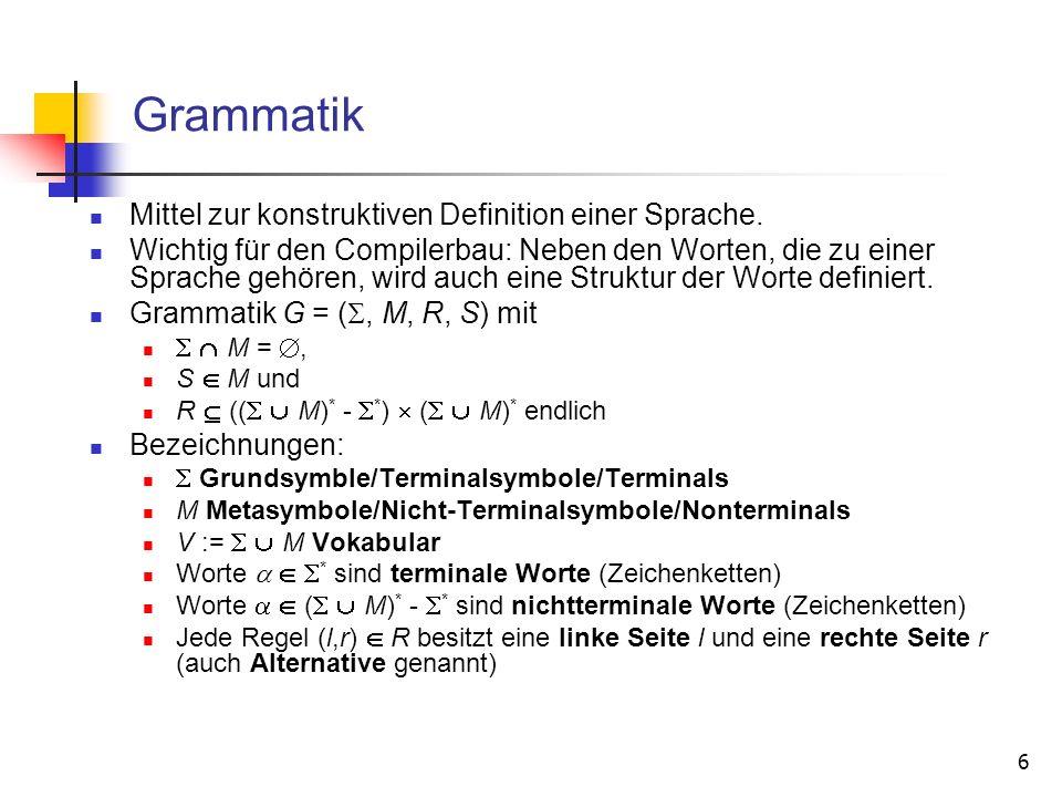 27 Beispiel: Mehrdeutige Grammatiken (1) Grammatik zur Erzeugung arithmetischer Ausdrücke: E ::= E + E | E * E | | E – E | E / E | ( E ) | n Eindeutige Grammatik (ohne Prioritäten): E ::= T | T + E | T * E | T – E | T / E T ::= n | ( E ) Eindeutige Grammatik (mit Prioritäten, Operatoren rechtsassoziativ): A ::= M + A | M – A | M M ::= T * M | T / M | T T ::= n | ( A ) Eindeutige Grammatik (mit Prioritäten, Operatoren linksassoziativ): A ::= A + M | A – M | M M ::= M * T | M / T | T T ::= n | ( A )