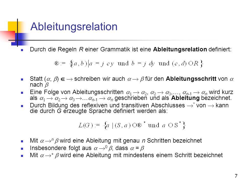 7 Ableitungsrelation Durch die Regeln R einer Grammatik ist eine Ableitungsrelation definiert: Statt (a, b) schreiben wir auch a b für den Ableitungss