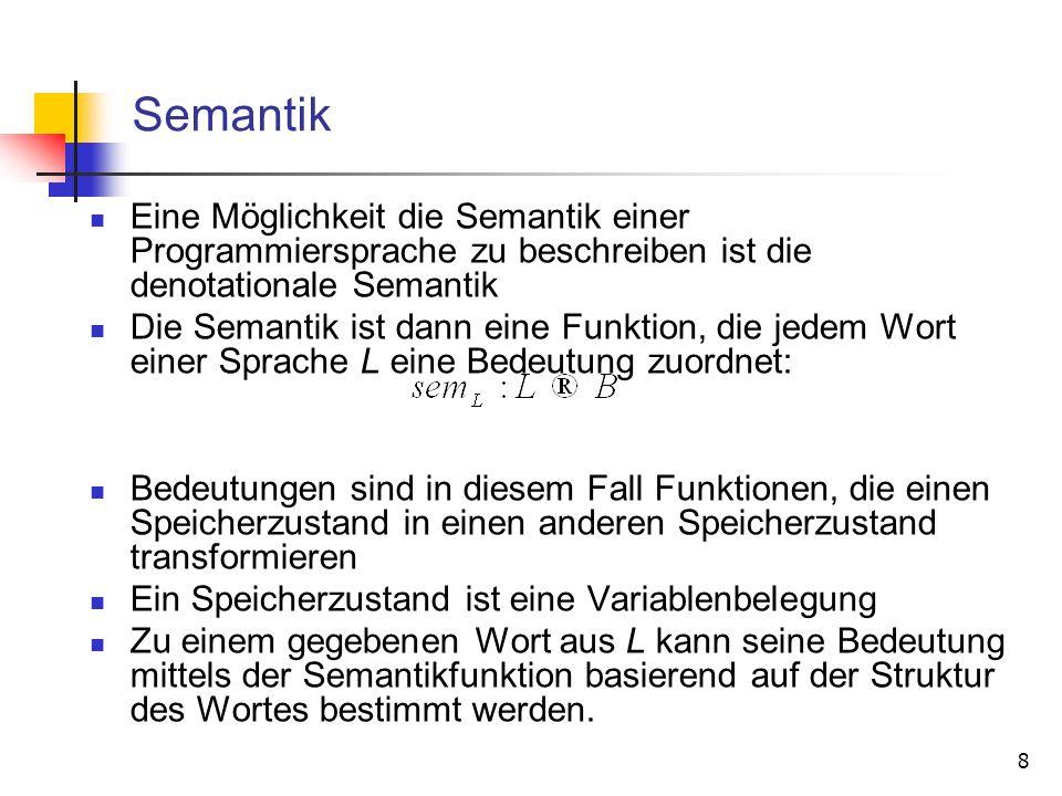 8 Semantik Eine Möglichkeit die Semantik einer Programmiersprache zu beschreiben ist die denotationale Semantik Die Semantik ist dann eine Funktion, d