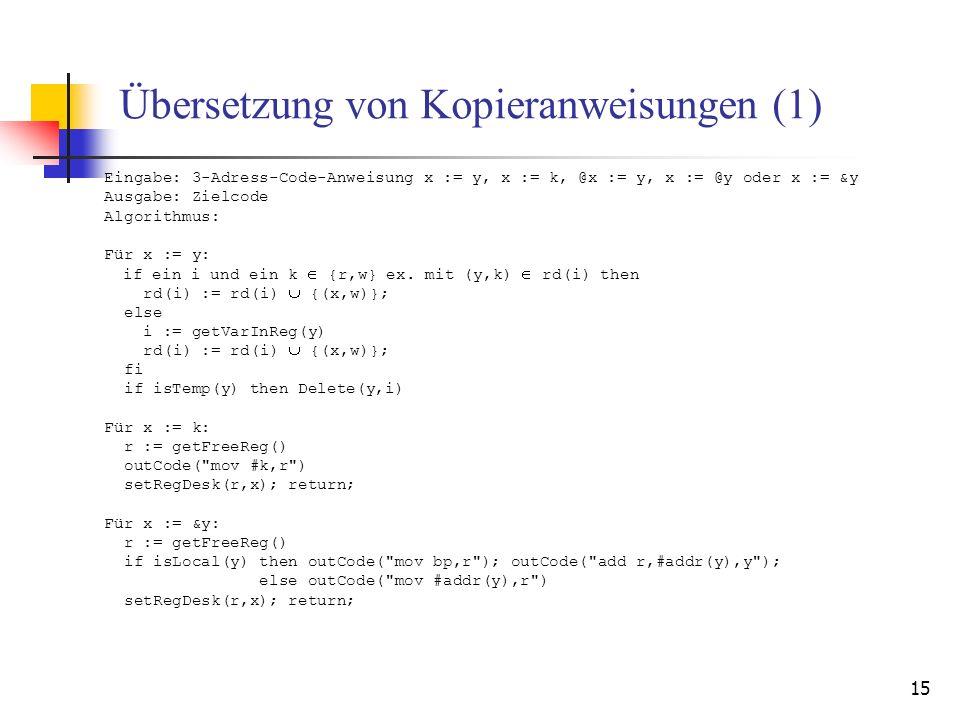 15 Übersetzung von Kopieranweisungen (1) Eingabe: 3-Adress-Code-Anweisung x := y, x := k, @x := y, x := @y oder x := &y Ausgabe: Zielcode Algorithmus: Für x := y: if ein i und ein k {r,w} ex.