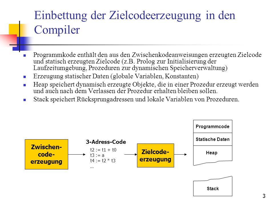 14 Beispiel Übersetzung von t20 := t1 + t16; Aufruf von getVarInReg(t1) und getVarInReg(t16): Aufruf von getFreeReg() i rd(i) (t0,w), (a,w) (t1,w), (b,w) (t2,w), (c,w) 0 1 2 (t15,w), (p,w)15 … Rückgabewert: r1 für t1 r0 für t16 Erzeugter Spillcode: mov r0,[bp-sd(t0)] mov r0,[sd(a)] mov [bp-sd(t16)],r0 Neuer Registerdeskriptor: i rd(i) (t16,r) (t1,w), (b,w) (t2,w), (c,w) 0 1 2 (t15,w), (p,w)15 … Registerdeskriptor: locked 0 0 0 0 1 1 0 0 i rd(i) (b,w) (t2,w), (c,w) 0 1 2 (t15,w), (p,w)15 … locked 1 1 0 0 Registerdeskriptor: Rückgabewert: r0 Erzeugter Spillcode: Keiner i rd(i) (t20,w) (b,w) (t2,w), (c,w) 0 1 2 (t15,w), (p,w)15 … locked 0 0 0 0 Zielcode: add r1,r0,r0 Neuer Registerdeskriptor: