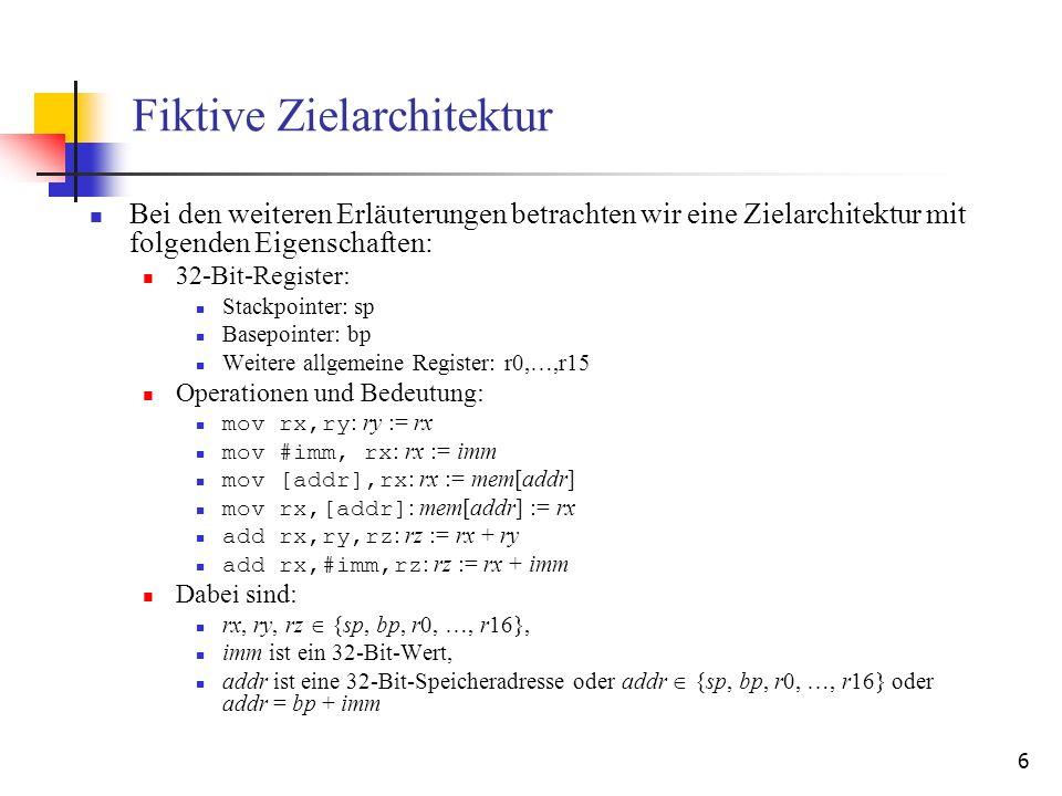7 Lokale Registerallokation für 3-Adress-Register- /Register-Architektur: Verwaltungsstrukturen V ist die Menge aller Variablen im 3-Adress-Code.