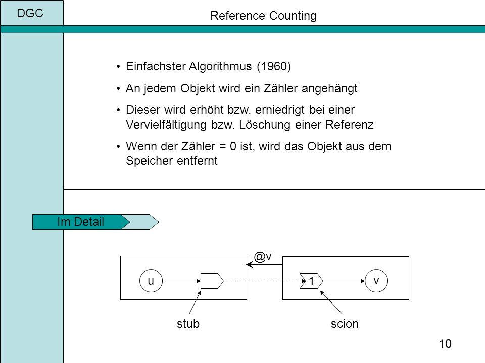 DGC 10 Reference Counting Einfachster Algorithmus (1960) An jedem Objekt wird ein Zähler angehängt Dieser wird erhöht bzw.