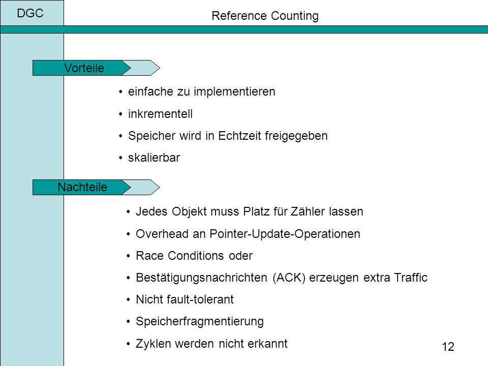 DGC 12 einfache zu implementieren inkrementell Speicher wird in Echtzeit freigegeben skalierbar Jedes Objekt muss Platz für Zähler lassen Overhead an Pointer-Update-Operationen Race Conditions oder Bestätigungsnachrichten (ACK) erzeugen extra Traffic Nicht fault-tolerant Speicherfragmentierung Zyklen werden nicht erkannt Vorteile Nachteile Reference Counting