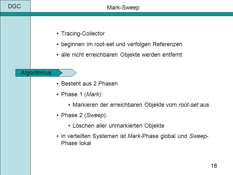 DGC 18 Mark-Sweep Besteht aus 2 Phasen Phase 1 (Mark): Markieren der erreichbaren Objekte vom root-set aus Phase 2 (Sweep): Löschen aller unmarkierten Objekte in verteilten Systemen ist Mark-Phase global und Sweep- Phase lokal Algorithmus Tracing-Collector beginnen im root-set und verfolgen Referenzen alle nicht erreichbaren Objekte werden entfernt