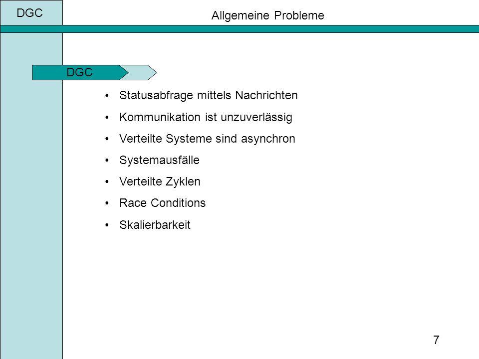 DGC 7 Allgemeine Probleme Statusabfrage mittels Nachrichten Kommunikation ist unzuverlässig Verteilte Systeme sind asynchron Systemausfälle Verteilte Zyklen Race Conditions Skalierbarkeit DGC