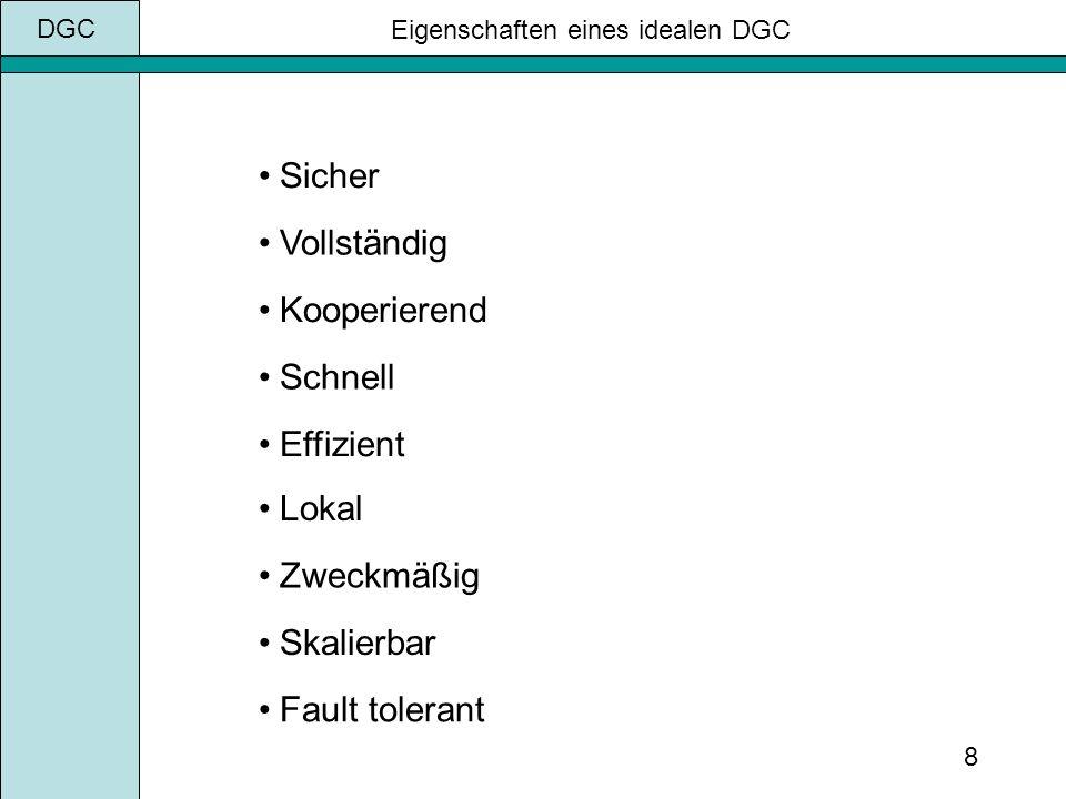 8 Eigenschaften eines idealen DGC Vollständig Kooperierend Schnell Effizient Lokal Zweckmäßig Skalierbar Fault tolerant Sicher