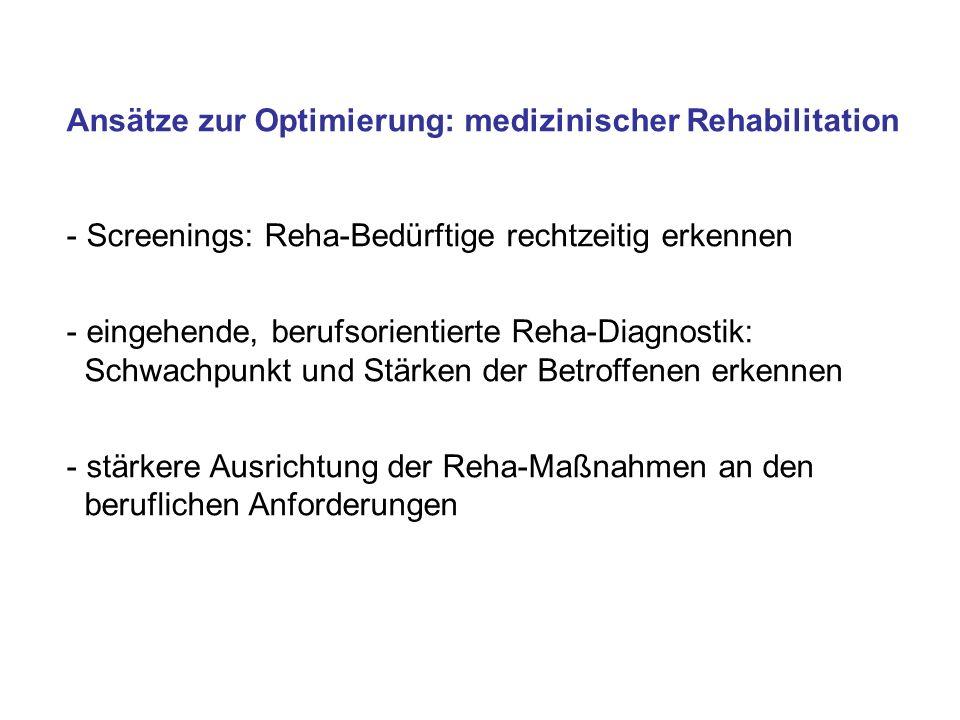 vertiefte Sozialberatung (Erarbeitung einer beruflichen Perspektive) Gemeinsame Beratung von Reha-Arzt und Betriebsarzt (Abbau von Überforderungsängsten; Klärung der Belastungsfähigkeit/Einsetzbarkeit; Einleitung betrieblicher Maßnahmen) Intensivierte Nachsorge für arbeitsunfähige Rehabilitanden bei Reha-Ende (Krankheitsbewälti- gung, Leistungsfähigkeit, Motivation) Stufenweise Wiedereingliederung Antrag auf Leistungen zur Teilhabe vorbereiten (Umschulung, Teilqualifizierung, innerbetriebliche Umsetzung, technische Hilfen, Eingliederungshilfen) Kooperation von Reha-Einrichtungen mit BFWs, freien Bildungsträgern, Betrieben, Krankenkassen, beim Eingliederungsmanagement Integrationsunterstützende Maßnahmen bei medizinischer Reha Erprobte Ansätze, Möglichkeiten