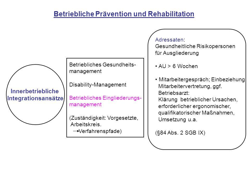 Innerbetriebliche Integrationsansätze Betriebliches Gesundheits- management Disability-Management Betriebliches Eingliederungs- management (Zuständigk