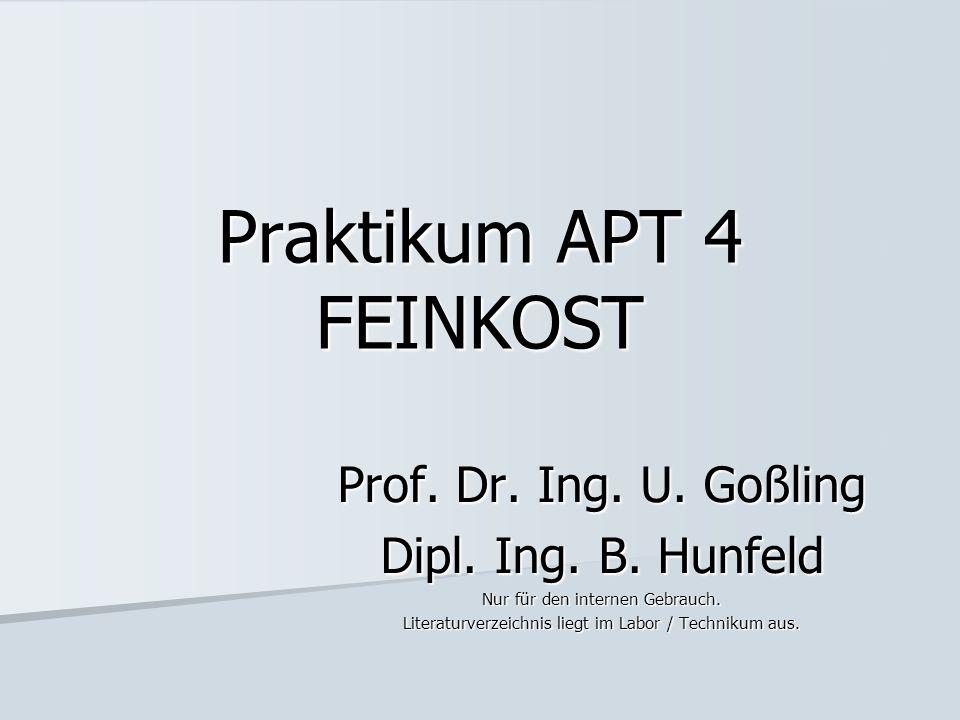 Praktikum APT 4 FEINKOST Prof. Dr. Ing. U. Goßling Dipl. Ing. B. Hunfeld Nur für den internen Gebrauch. Literaturverzeichnis liegt im Labor / Techniku
