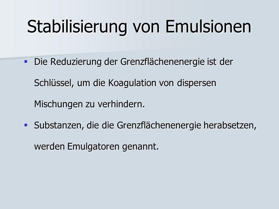 Stabilisierung von Emulsionen Die Reduzierung der Grenzflächenenergie ist der Schlüssel, um die Koagulation von dispersen Mischungen zu verhindern. Di