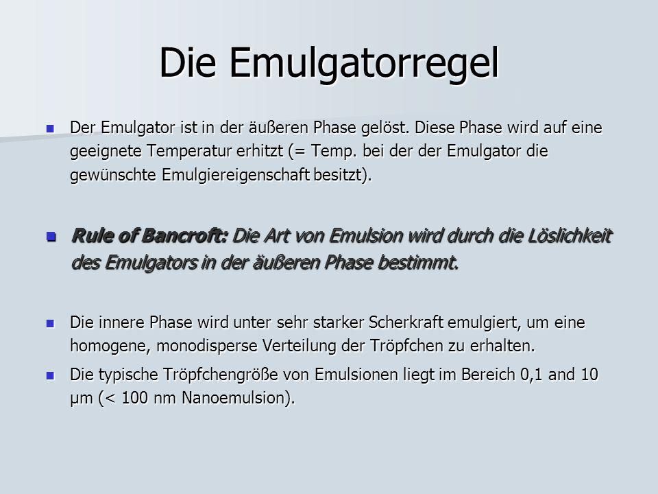 Die Emulgatorregel Der Emulgator ist in der äußeren Phase gelöst. Diese Phase wird auf eine geeignete Temperatur erhitzt (= Temp. bei der der Emulgato