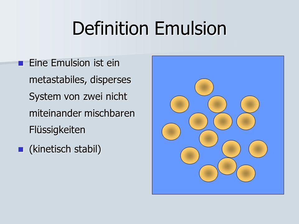 Definition Emulsion Eine Emulsion ist ein metastabiles, disperses System von zwei nicht miteinander mischbaren Flüssigkeiten Eine Emulsion ist ein metastabiles, disperses System von zwei nicht miteinander mischbaren Flüssigkeiten (kinetisch stabil) (kinetisch stabil)