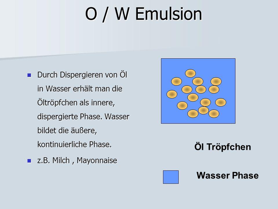O / W Emulsion Durch Dispergieren von Öl in Wasser erhält man die Öltröpfchen als innere, dispergierte Phase. Wasser bildet die äußere, kontinuierlich