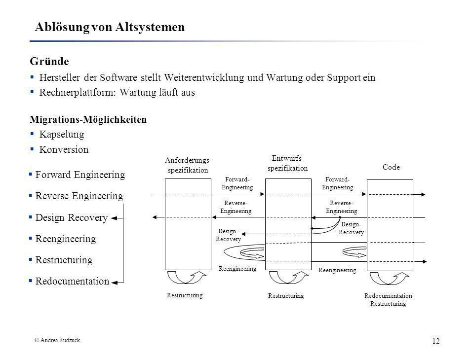 © Andrea Rudzuck 12 Ablösung von Altsystemen Gründe Hersteller der Software stellt Weiterentwicklung und Wartung oder Support ein Rechnerplattform: Wa