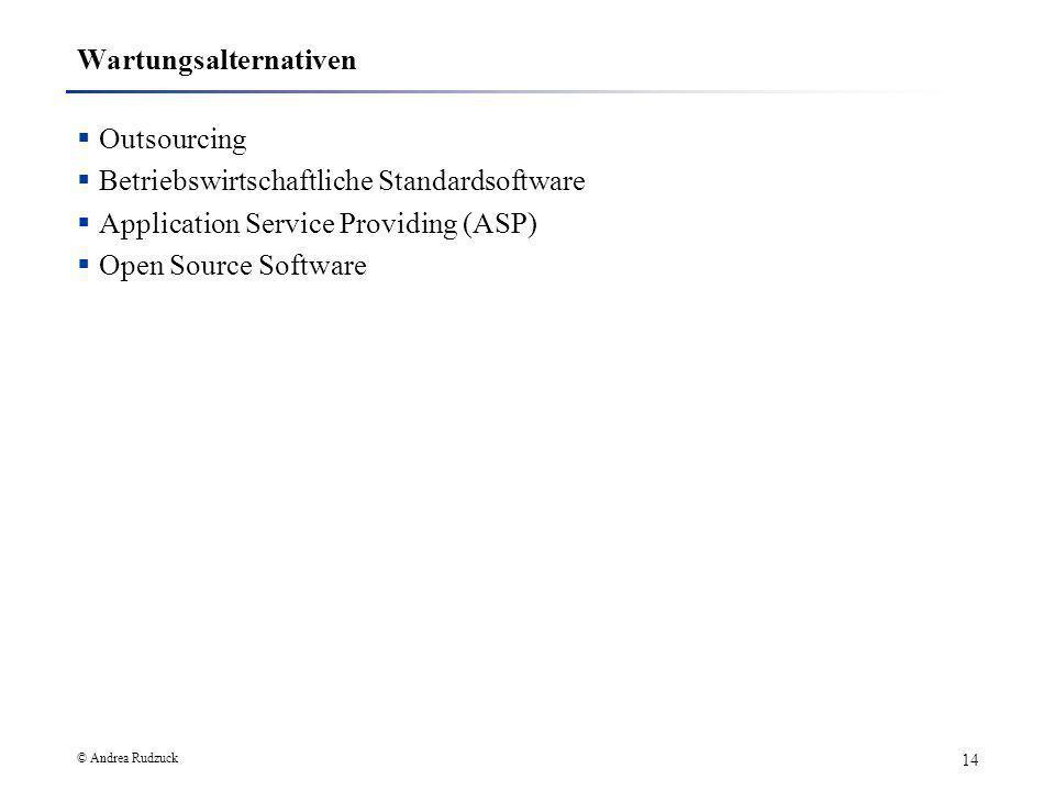 © Andrea Rudzuck 14 Wartungsalternativen Outsourcing Betriebswirtschaftliche Standardsoftware Application Service Providing (ASP) Open Source Software