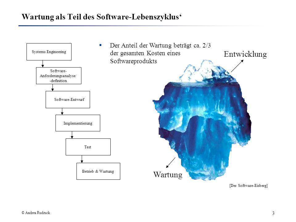 © Andrea Rudzuck 3 Wartung als Teil des Software-Lebenszyklus Systems Engineering Software- Anforderungsanalyse/ -definition Software-Entwurf Implemen