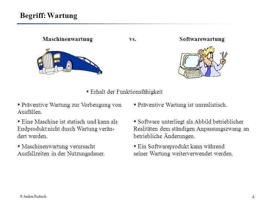 © Andrea Rudzuck 4 Begriff: Wartung Maschinenwartung vs.Softwarewartung Präventive Wartung zur Vorbeugung von Ausfällen. Software unterliegt als Abbil