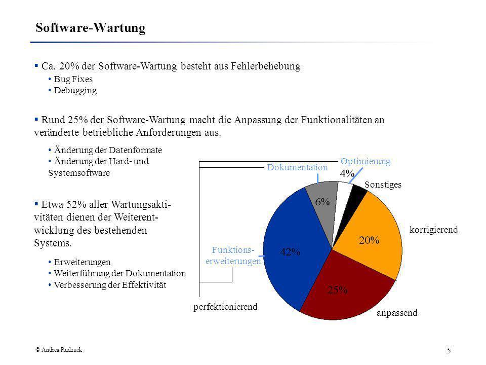 © Andrea Rudzuck 5 Software-Wartung korrigierend Ca. 20% der Software-Wartung besteht aus Fehlerbehebung Rund 25% der Software-Wartung macht die Anpas