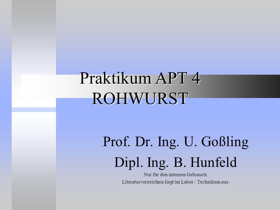 Praktikum APT 4 ROHWURST Prof. Dr. Ing. U. Goßling Dipl. Ing. B. Hunfeld Nur für den internen Gebrauch. Literaturverzeichnis liegt im Labor / Techniku