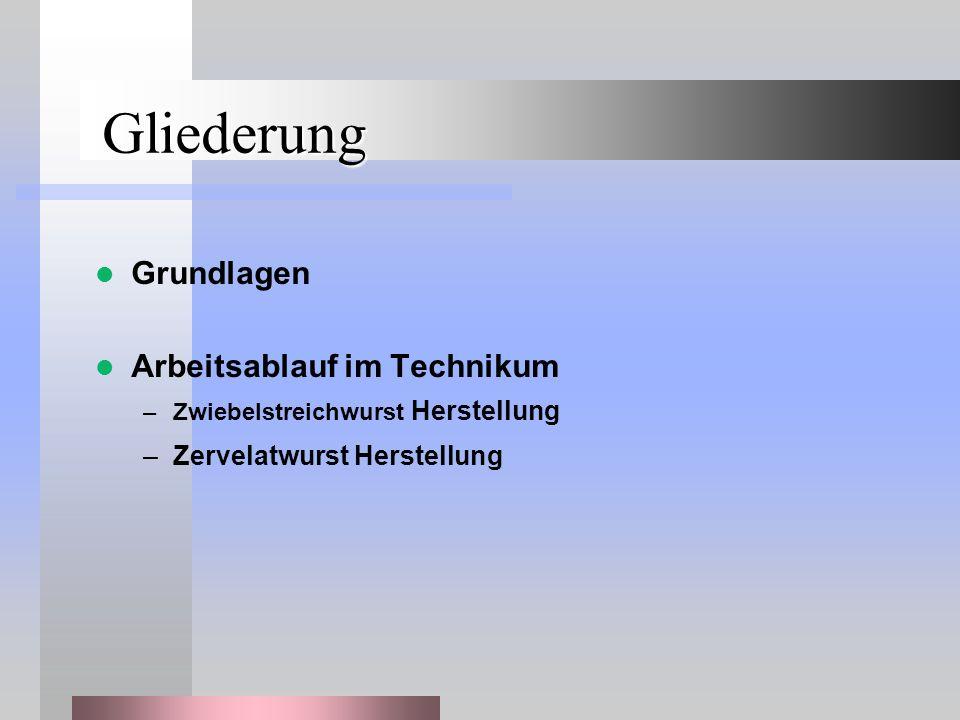 Gliederung Grundlagen Arbeitsablauf im Technikum –Zwiebelstreichwurst Herstellung –Zervelatwurst Herstellung