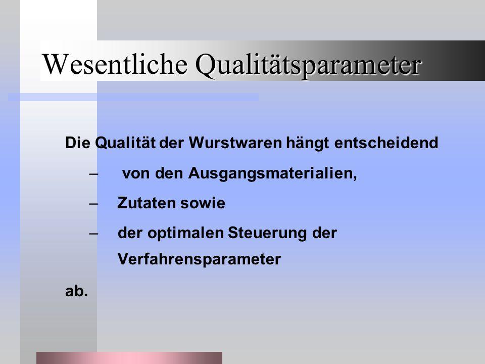 Wesentliche Qualitätsparameter Die Qualität der Wurstwaren hängt entscheidend – von den Ausgangsmaterialien, –Zutaten sowie –der optimalen Steuerung der Verfahrensparameter ab.