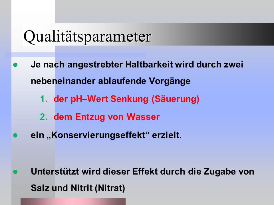 Qualitätsparameter Je nach angestrebter Haltbarkeit wird durch zwei nebeneinander ablaufende Vorgänge 1.der pH–Wert Senkung (Säuerung) 2.dem Entzug vo
