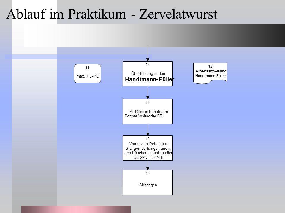 Überführung in den Handtmann- Füller 12 max. + 3-4°C 11 Arbeitsanweisung Handtmann-Füller 13 Abfüllen in Kunstdarm Format Walsroder FR 14 Wurst zum Re