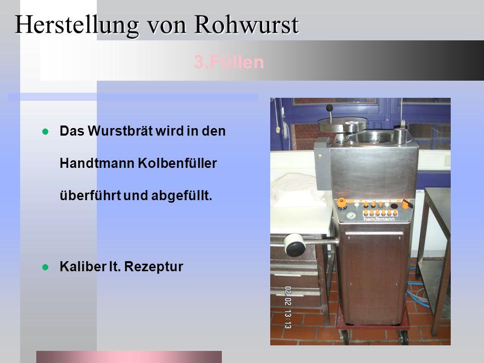 Herstellung von Rohwurst Das Wurstbrät wird in den Handtmann Kolbenfüller überführt und abgefüllt. Kaliber lt. Rezeptur 3.Füllen