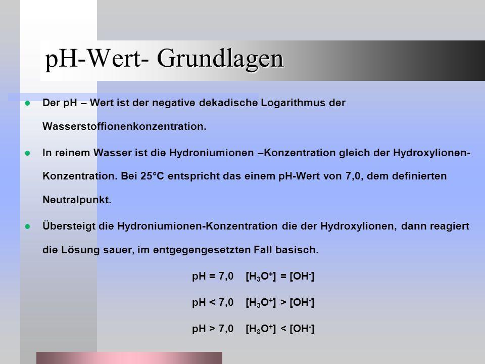 pH-Wert- Grundlagen Der pH – Wert ist der negative dekadische Logarithmus der Wasserstoffionenkonzentration. In reinem Wasser ist die Hydroniumionen –