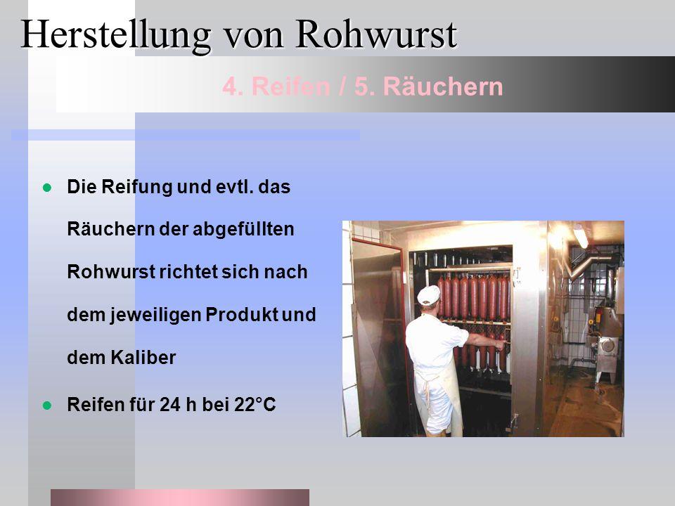 Herstellung von Rohwurst Die Reifung und evtl. das Räuchern der abgefüllten Rohwurst richtet sich nach dem jeweiligen Produkt und dem Kaliber Reifen f