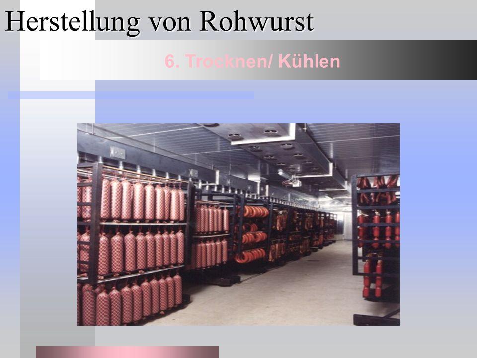 Herstellung von Rohwurst 6. Trocknen/ Kühlen