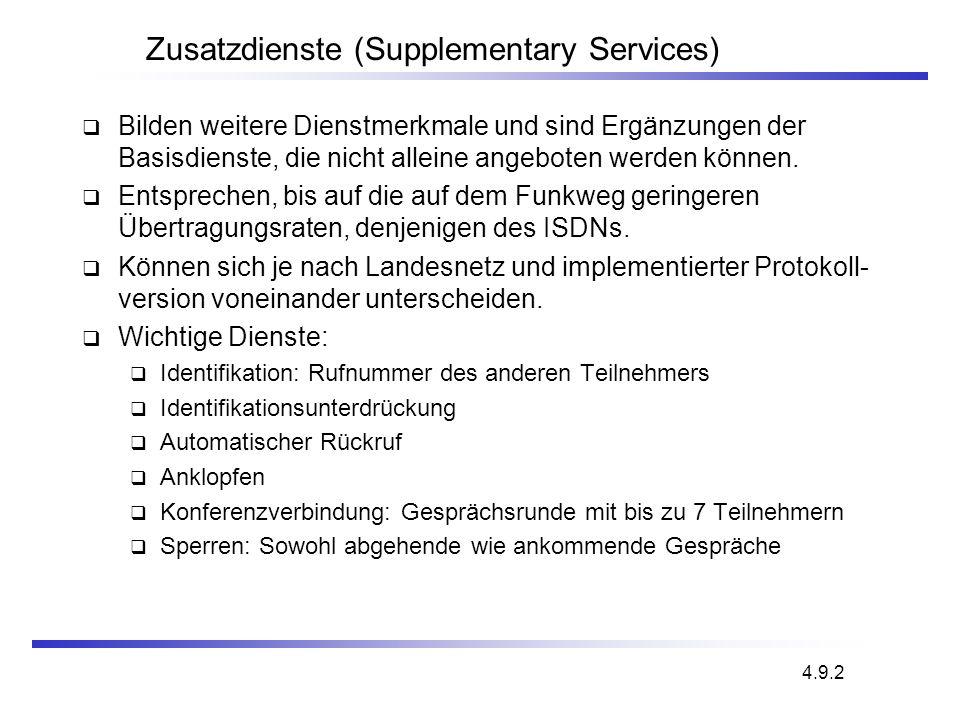 Zusatzdienste (Supplementary Services) Bilden weitere Dienstmerkmale und sind Ergänzungen der Basisdienste, die nicht alleine angeboten werden können.