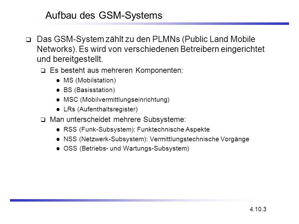 Aufbau des GSM-Systems Das GSM-System zählt zu den PLMNs (Public Land Mobile Networks). Es wird von verschiedenen Betreibern eingerichtet und bereitge