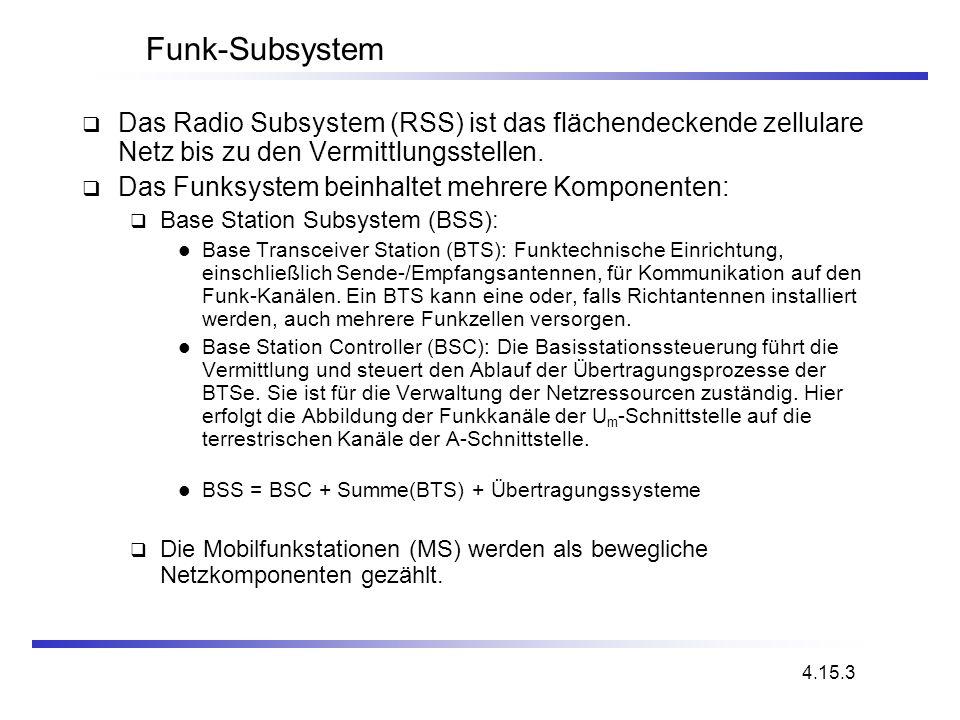 Funk-Subsystem Das Radio Subsystem (RSS) ist das flächendeckende zellulare Netz bis zu den Vermittlungsstellen. Das Funksystem beinhaltet mehrere Komp