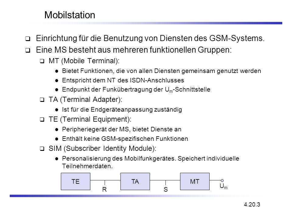 Mobilstation Einrichtung für die Benutzung von Diensten des GSM-Systems. Eine MS besteht aus mehreren funktionellen Gruppen: MT (Mobile Terminal): Bie